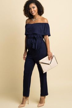 d2504ddc73 Navy Blue Sash Tie Off Shoulder Ruffle Maternity Jumpsuit