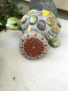 Dotty Mandala Rock with Bonus Peace Rock by InnerSasa on Etsy