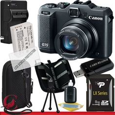 Canon PowerShot G15 Digital Camera 8GB Package 1 by Canon. $509.84. Package Contents:  1- Canon PowerShot G15 Digital Camera  w/ All Supplied Accessories 1- 8GB SDHC Class 10 Memory Card 1- Rapid External Ac/Dc Charger Kit   1- USB Memory Card Reader  1- Rechargeable Lithium Ion Replacement Battery  1- Weather Resistant Carrying Case w/Strap  1- Pack of LCD Screen Protectors  1- Camera & Lens Cleaning Kit System  1- Mini Flexible Table Top Tripod 1- Memory Card Wallet