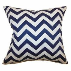 "Cotton pillow with a chevron motif. Made in Boston, Massachusetts.     Product: PillowConstruction Material: Cotton cover and down fillColor: Royal blue and whiteFeatures:  Insert includedHidden zipper closureMade in the USA Dimensions: 18"" x 18""Cleaning and Care: Spot clean"