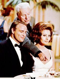 "Sophia Loren with Marlon Brando  Charles Chaplin while filming ""A Countess from Hong Kong""  (1967)."