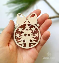 Sweet laser cut Christmas tree ornament / Christmas decorations / Christmas tree ornaments / Christmas gift ideas / Christmas home decor ~ BE AN AUTHOR OF YOUR CHRISTMAS HOME DECOR! ~ This laser cut wood Christmas tree ornament is so sweet and lovely! Perfectly made from wood, it