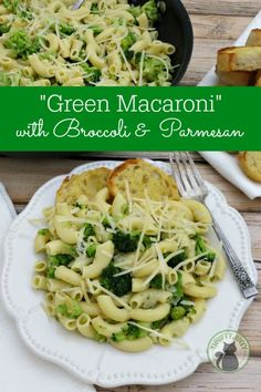 Broccoli Parmesan Macaroni Recipe - The perfect GREEN pasta dish! It cooks up in 30 minutes - just what you need for weeknight dinners!