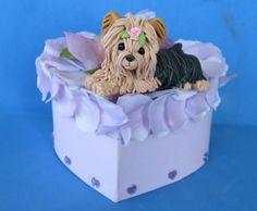 Yorkie Yorkshire Terrier Dog on Lavender Heart by sallysbitsofclay, $22.99