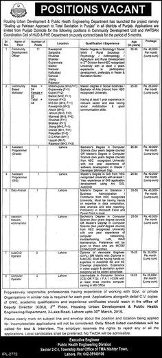 Jobs in Housing Urban Development & Public Health Engineering Department