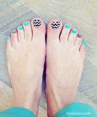 fun turquoise, black, white, chevron stripe toes - pedicure