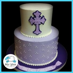 Lavender Buttercream First Holy Communion Cake with Swiss Dots – Blue Sheep Bake Shop