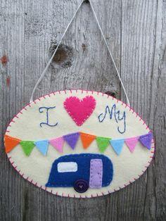 Caravan decoration, hanging decoration, caravan decor, gift for friends Caravan Decor, Gifts For Family, Gifts For Friends, Caravan Pictures, Colorful Frames, Pink Blanket, Hand Applique, Blanket Stitch, Gift For Lover