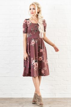 """Casual & comfy, this dress is available in a variety of fun florals & sophisticated solids! """"Natalie"""" Modest Dress in Red Bean w/Multicolored Floral Print, $54.99"""