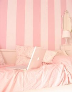 Adorable pink and white room