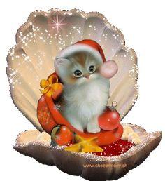 dreamies.de Christmas Animals, Christmas Cats, Christmas Pictures, Vintage Christmas, Christmas Holidays, Christmas Decorations, Merry Christmas And Happy New Year, Christmas Greetings, Birthday Greetings