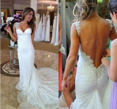 Sexy Custom White backless mermaid lace wedding dress Bridal Gown custom size in Clothing, Shoes & Accessories, Wedding & Formal Occasion, Wedding Dresses | eBay