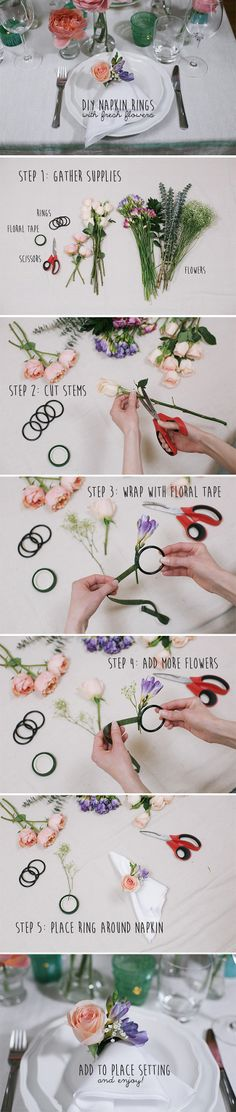 How to make fresh flower napkin rings for your wedding or bridal shower: http://www.weddingbee.com/2014/05/15/fresh-flower-napkin-rings/#axzz332X9ELvh #DIY