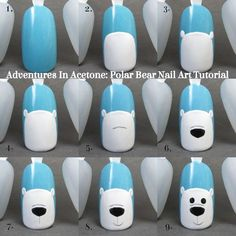 Adventures In Acetone: Tutorial Tuesday: Polar Bear Nail Art!- Adventures In Acetone: Tutorial Dienstag: Eisbär Nail Art! Adventures In Acetone: Tutorial Tuesday: Polar Bear Nail Art! Xmas Nail Art, Christmas Nail Art Designs, Xmas Nails, Winter Nail Designs, Winter Nail Art, Holiday Nails, Winter Nails, Christmas Nails, Winter Art