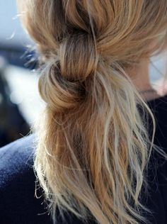 For a completely different kind of ponytail, tie your hair into a knot.  Read more: http://beautyhigh.com/50-gorgeous-holiday-hair-ideas-pinterest/#ixzz2zzim1Wbd