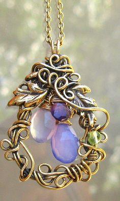 Smokey Purple Indigo Wire Wrapped Necklace by tangocatgems1, via Flickr