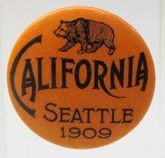 1909 Seattle AYPE CALIFORNIA State pinback button Alaska Yukon Pacific Expo