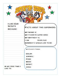 """Cub Scouts """"About me"""" page for 1st meeting (come by my blog www.notjustamomwi... for more printables I created)"""
