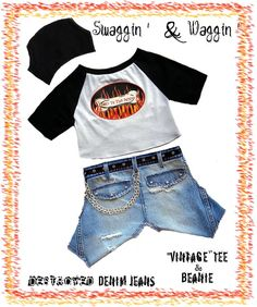 Dog Clothing Pattern Boy's Jeans T Shirt, destroyed denim jeans & beanie cap. A designer doggy pdf pattern by MissDaisyDesignsShop, click for Etsy or visit http://missdaisydesigns.com