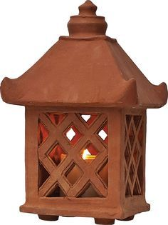 Terracotta Clay Garden Lantern with Lattice Design -- Garden lantern made from terracotta clay. Can be used indoors or outdoors. Ceramic Lantern, Ceramic Candle Holders, Ceramic Light, Lantern Candle Holders, Garden Candle Lanterns, Patio Lanterns, Pottery Lessons, Slab Ceramics, Clay Houses