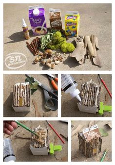 great--but use brown cardboard so they don't show white so much--Milk Carton Fairy House Kids Fairy Garden Party, Fairy Houses Kids, Fairy House Crafts, Mini Fairy Garden, Fairy Garden Houses, Garden Kids, Garden Parties, Gnome Garden, Fairy Garden Furniture