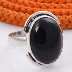 925 SOLID STERLING SILVER BLACK ONYX RING 4.77g DJR4447 #Handmade #Ring