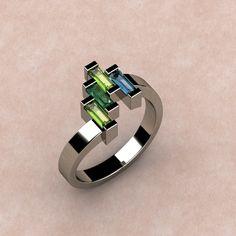 Mother's Ring set w. Peridot, Emerald & Aquamarine