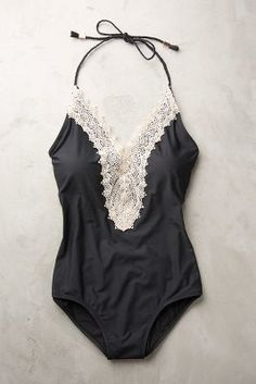 8fb3fbf790e Anthropologie Lace-Front Maillot Black Swimsuit  anthrofave Flattering  Swimsuits