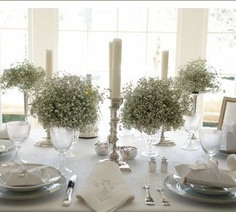 baby breath- I love this! Add some blue ad this is my wedding centerpieces