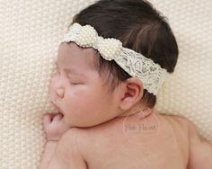 pearl baby headband, baby headbands, lace pearl headband, newborn headband, Bow…