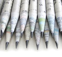 Eco pencils made from recycled newspaper. Image: TreeSmart.