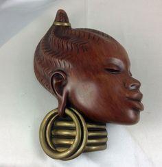 Early Achatit-Werkstaetten African Woman German Ceramic Wall Mask c 1957 African Masks, African Women, German, Porcelain, Statue, Wall, Ebay, Collection, Deutsch