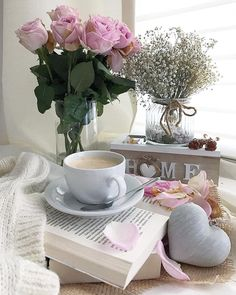 Photo by E's Home on February Coffee And Books, I Love Coffee, Morning Rose, Book Flowers, Aesthetic Coffee, Good Morning Coffee, Coffee Photography, Coffee Cafe, Flower Wallpaper