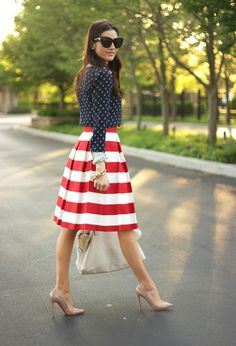 @roressclothes clothing ideas #women fashion navy blue blouse, striped red white skirt, heels