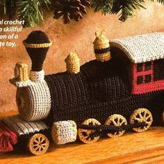 Crochet train; toy for Christmas