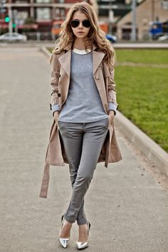 Grey + Trench + Silver Heels