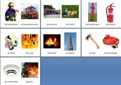 Kleine themakaarten voor het thema brandweer, we hebben voor vele thema's grote en kleine themakaarten op de website van Juf Milou.