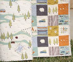 Organic Baby Quilt Camping Outdoors Hiking Canoeing Boy Blanket by SunnysideDesigns2