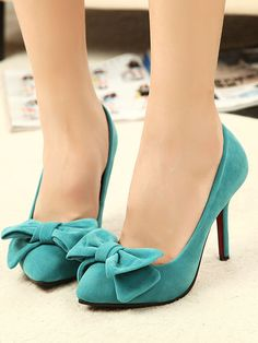 Blue Faux Suede Bow Embellished Heeled Shoes | Choies