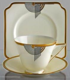 Black, Gold & White Tango Pattern Royal Dalton Art Deco Cup & Saucer Trio