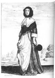 17th century lower class women wearing a long garment with an outer piece that flows down