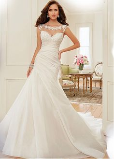 Glamorous Tulle & Organza Satin Bateau Neckline Asymmetrical Waistline Mermaid Wedding Dress
