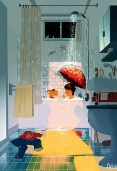 Singin' in the (Rain)  Shower.. Also known as... Giving Charly( our dog) a bath. #pascalcampion