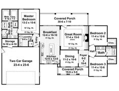 First Floor Plan of Country   European   House Plan 59182