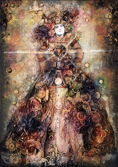 Queen of Hearts - mixed-media collage on canvas by finnabair, via Flickr - Finnabair Blog Spot - Wow!