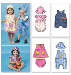Infants' Dress, Rompers, Jumpsuit, Panties and Hats