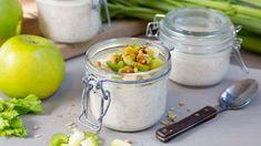 Kjøleskapsgrøt med eple og selleri - Oppskrift fra TINE Kjøkken Pickles, Cucumber, Tin, Food, Meals, Pickling, Cauliflower, Yemek, Pickle