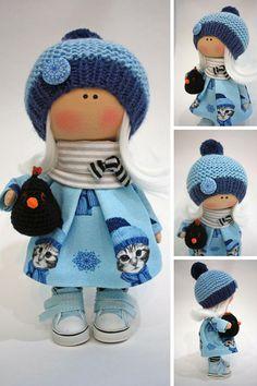 Nursery Art Doll Collection Cloth Doll Fabric Muñecas Rag Bambole Doll Textile Handmade Doll Tilda Poupée Doll Winter Blue Doll by Ksenia - Spielzeug und Stofftiere Handmade Home Decor, Handmade Toys, Doll Clothes Patterns, Cute Dolls, Fabric Dolls, Clothes Crafts, Nursery Art, Stuffed Animal Patterns, Winter Blue
