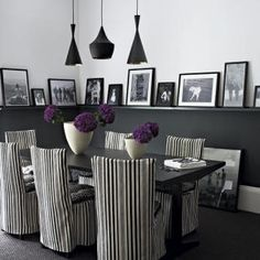Black & white dining room. I perfer red instead of purple