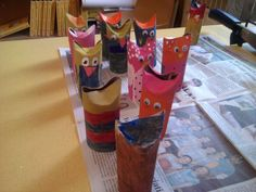 Art With Ms. James: Owls painted on toilet paper tubes